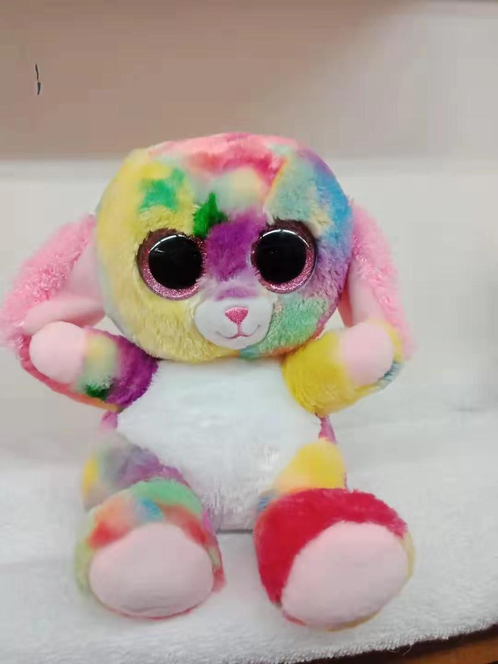 Cute Fluffy Stuffed Animals with Three Color Big Eye